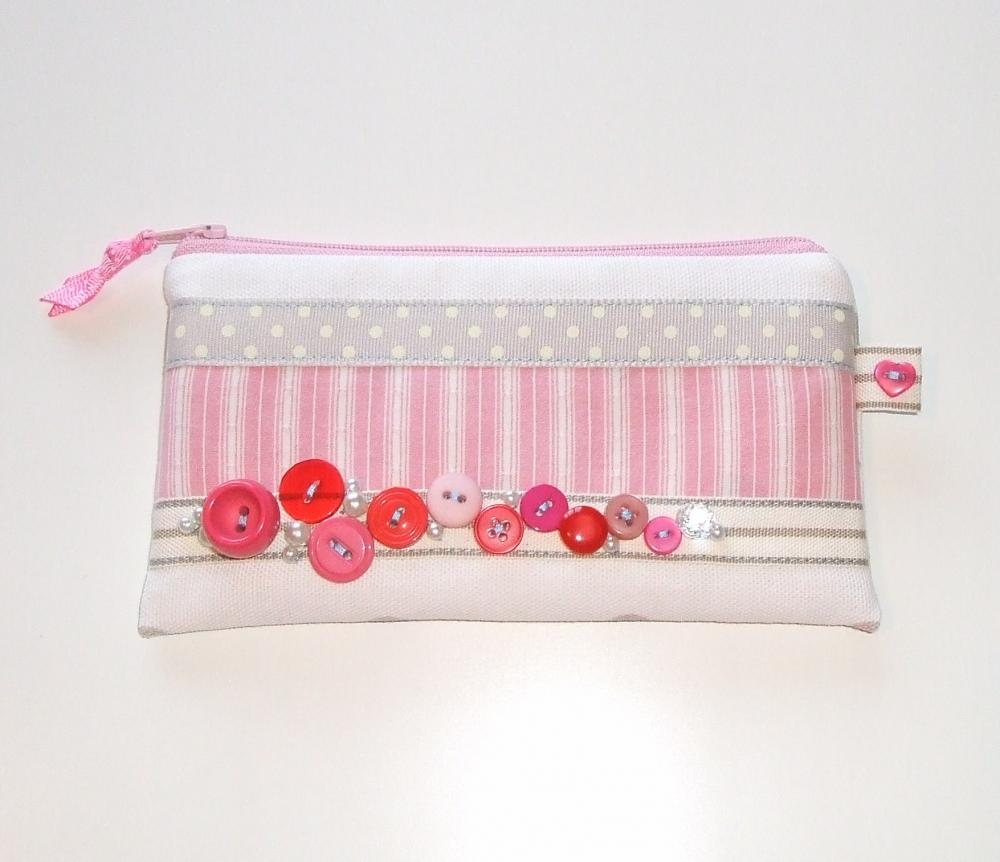 Vintage Button Candy Cane Pink Make Up Purse